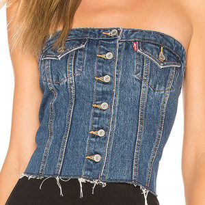 Levi's Lace-Up Denim Corset Top, XS